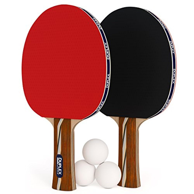 Duplex 6スターピンポンパドル 2本セット 卓球ラケット ボール3個付き