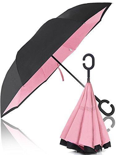 【 大きい 逆折り式傘 メンズ レディース 子供 】 Hizak 逆さ傘 逆開き UVカット 撥水 耐風 逆さま 濡れない 「 日傘 ビジネス 車 逆折 長傘 」「 自立可能 二重生地 」「 晴雨兼用 逆おり 」「 124センチ 逆 傘 」 6カラー (ピンク)