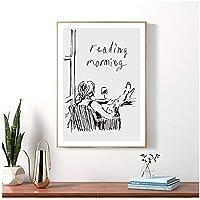 現代漫画フィギュアレディーピクチャー家の装飾北欧キャンバス絵画壁アートラインプリントとポスターの装飾オフィス寝室-50×70センチなしフレーム