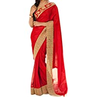 CRAFTSTRIBE Fuax Georgette Ethic Bollywood Fashion Sari Designer Embroidery Work Beautiful Bridal Dress Party Ware Saree for Women