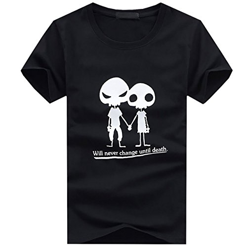 BUZZxSELECTION(バズ セレクション) Tシャツ 半袖 キャラクター おしゃれ ドクロ プリント メンズ レディース BTS005 (02 ブラック,S)