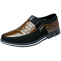 Naisidier Men Slip On Loafers Leather Splice Upper Breathable Low Top Casual Business Shoes with Non Slip Sole for Work and Walk