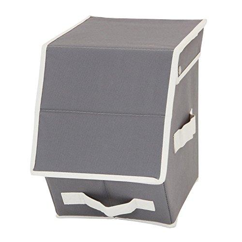 RoomClip商品情報 - カラーボックスに収まる「フラップインナーボックス ハーフ」【IT】グレー(#9837015-32777) 約19×27×25cm カラーボックス 蓋付き フラップ扉 布製 ファブリック