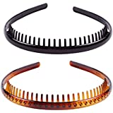Set of 2 Fashion Plastic Headband Teeth Comb Hairband Hair Hoop Accessory for Women's Lady Girls (Black +Brown)