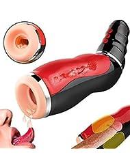 Risareyi 電動 オナホール 男性のための自動経口カップ、Mǎstù-R-bǎtionカップ、ディープスロートマッサージカップ、ペニスエクステンダーの強化、USB充電マッサージ装置 大人のおもちゃ