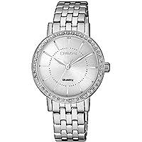 Citizen Women's Quartz Wrist Watch analog Display and Stainless Steel Strap, EL3040-80A