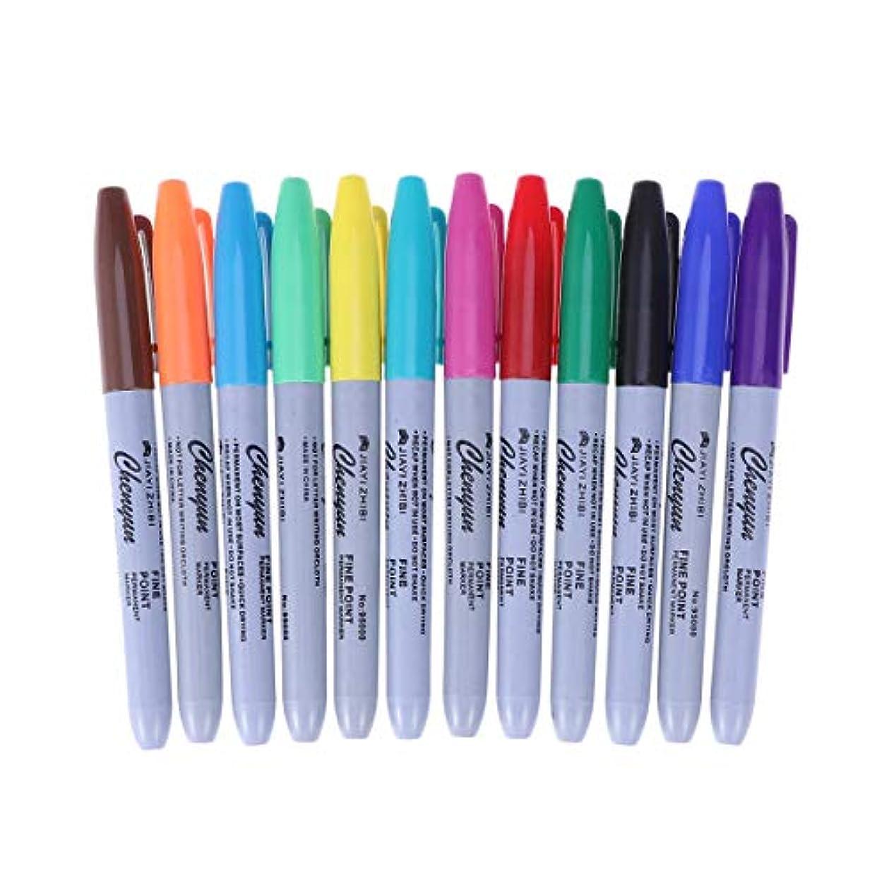 Healifty 12色タトゥーペン防水タトゥースキンマーカーマーキングスクライブペンファインとレッグチップタトゥー用品
