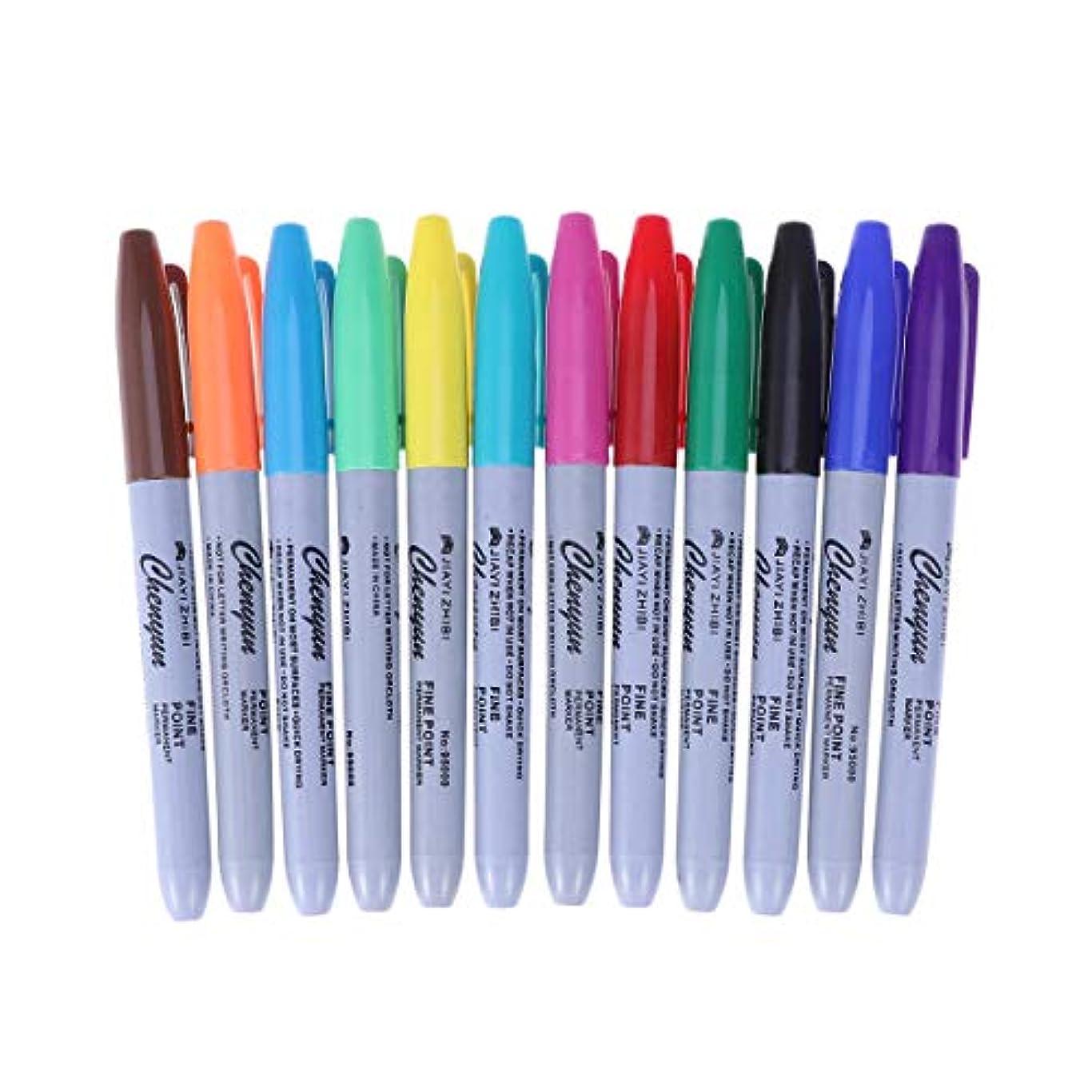 たらい反毒コンパスHealifty タトゥーペン防水高品質マーカーペン12色スキンマーカーペンスクライブツールタトゥー用品24ピース