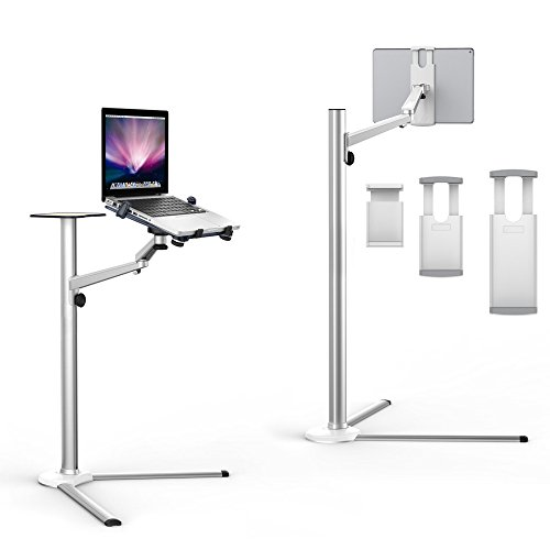 """Ciscle 高さ調整可能なパソコン/スマートフォン/タブレット用フロアスタンド 寝ながら見れる クランプ式 iPhone 4、5、6、7/PLUS/SONY/SAMSUNGなどの3.5-6""""のスマートフォンや、iPad Mini/iPad 2、3、4/iPad air/iPad Proなどの7-13""""のタブレットや10-15インチのノートパソコンに対応 C-PTA01(シルバー)"""