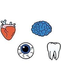 MJARTORIA 4 pcsクリエイティブ漫画の歯の目形状ミックスブローチセットノベルティエナメルラペルピン