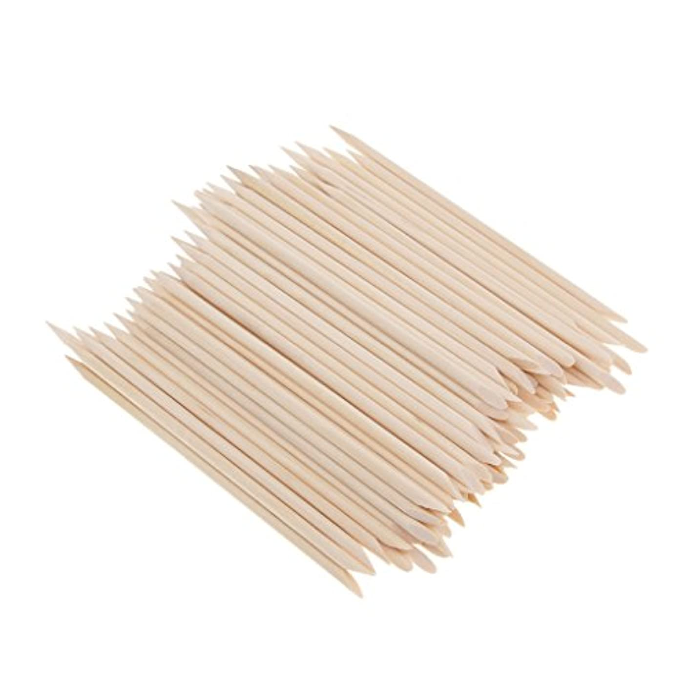 本質的に運動する最も約100個 爪リムーバー ウッドスティック ネイルアート 木のスティック キューティクルプッシャー リムーバー マニキュアツール