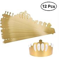 BESTOYARD パーティーの帽子大人の子供のための黄金の調節可能な紙クラウンハットキャップパーティー用品誕生日お祝いの写真の小道具12個
