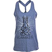 Ann Arbor T-shirt Co. Llamaste | Cute, Funny Yoga Llama Namaste Workout Racerback Tank Top for Women