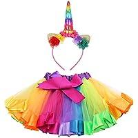 iiniim Kids Girls Headband with Rainbow Tutu Skirt Party Ballet Dance Dress up Costumes