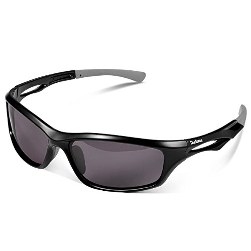 Duduma 偏光 レンズ メンズスポーツサングラス 超軽量 UV400 紫外線をカット スポーツサングラス/ 自転車/釣り/野球/テニス/ゴルフ/スキー/ランニング/ドライブ T90 (ブラック/ブラック)
