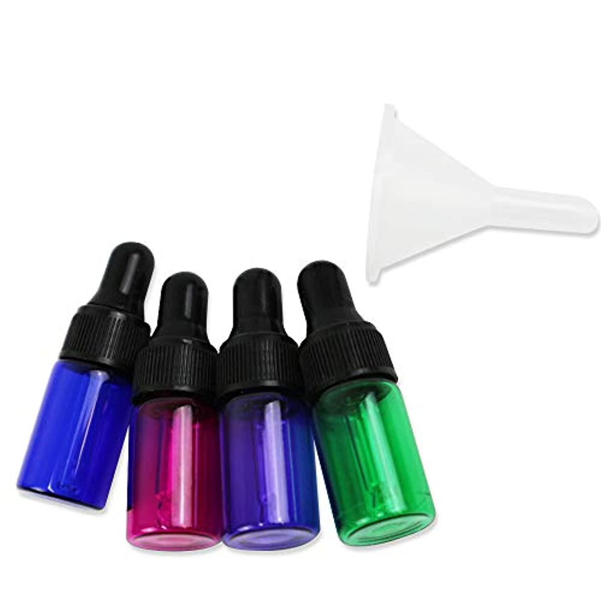 限りなく腕ウールhiruiseki カラフル ミニ遮光瓶 3ml 4色セット ろうと付き アロマ 香水 詰め替え