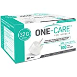 MediVena ONE-CARE Pen Needles 32G x 4 mm (5/32''), 100 Pieces, Ultra-Thin for Comfortable Insulin Injection