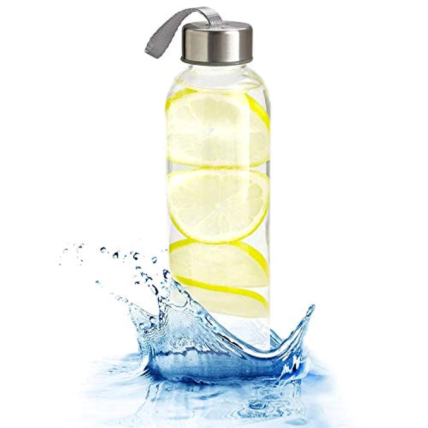 光沢あいさつ絶対のKitchen Lux ガラスウォーターボトル 18オンス ナイロン保護スリーブ 密閉ねじ蓋 ポータブルキャリーループ 鉛 ポリ塩化ビニル BPAフリー 水 スムージー ジューサー 飲料用グラス
