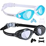 EverSport Swim Goggles, Pack of 2 Swimming Goggles, Swim Glasses No Leaking Anti Fog UV Protection for Adult Men Women Youth Kids Children, Shatter-Proof, Watertight, Triathlon Goggle