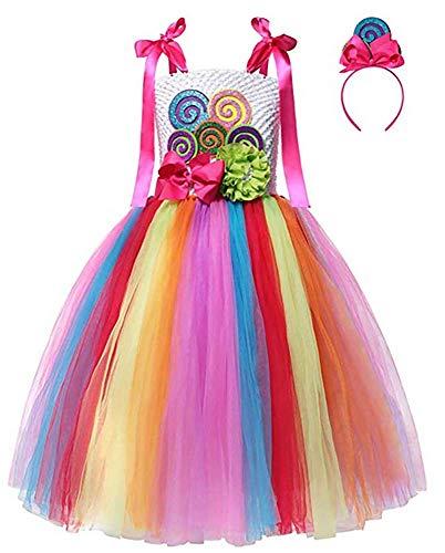 S&C Liveポップキャンディコスプレワンピースドレス 女の子 ポップキャンディ風ワンピース ハロウィンキャンディドレス キャンディカチューシャ付 カラフル 超かわいい おもしろい ハロウィンコスチューム キッズコスチューム 超可愛い おもしろ イベント