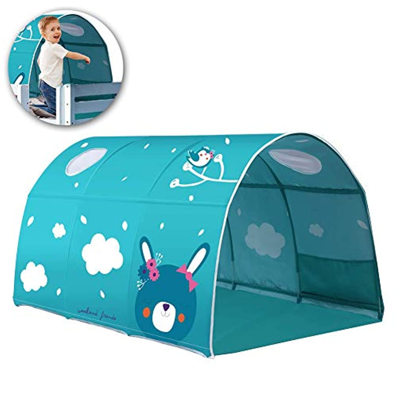 ベーコン値下げに渡って子供用のトンネルテント、子供用のプレイベッドテント、子供用のベッドトンネルテントロフト二段ベッド、90?100 cmのベッド幅に適した、少年のプレイハウス、プリンセスベッドのゲームハウス、かわいいうさ