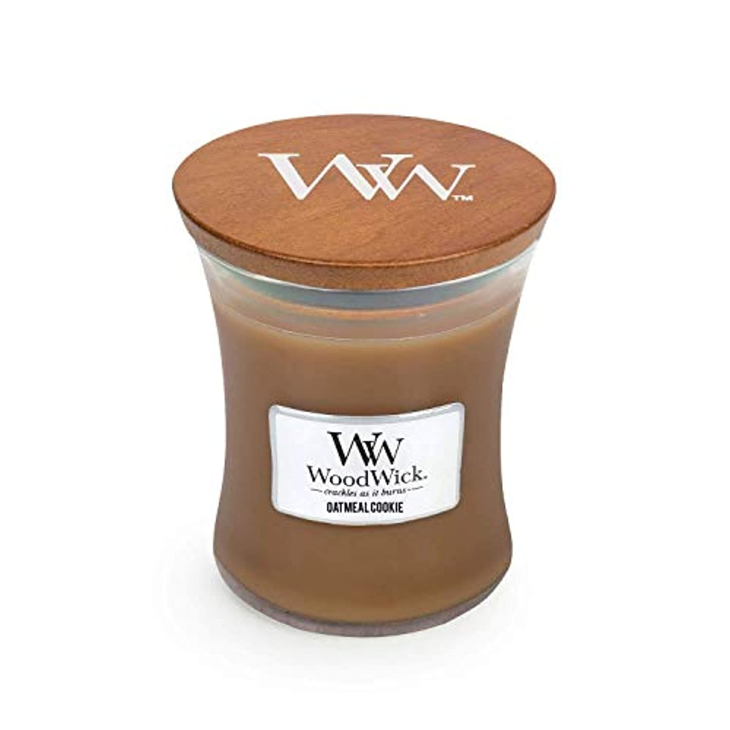 お尻リンスメロドラマWoodwick Oatmeal Cookie Medium Scented Jar Candle