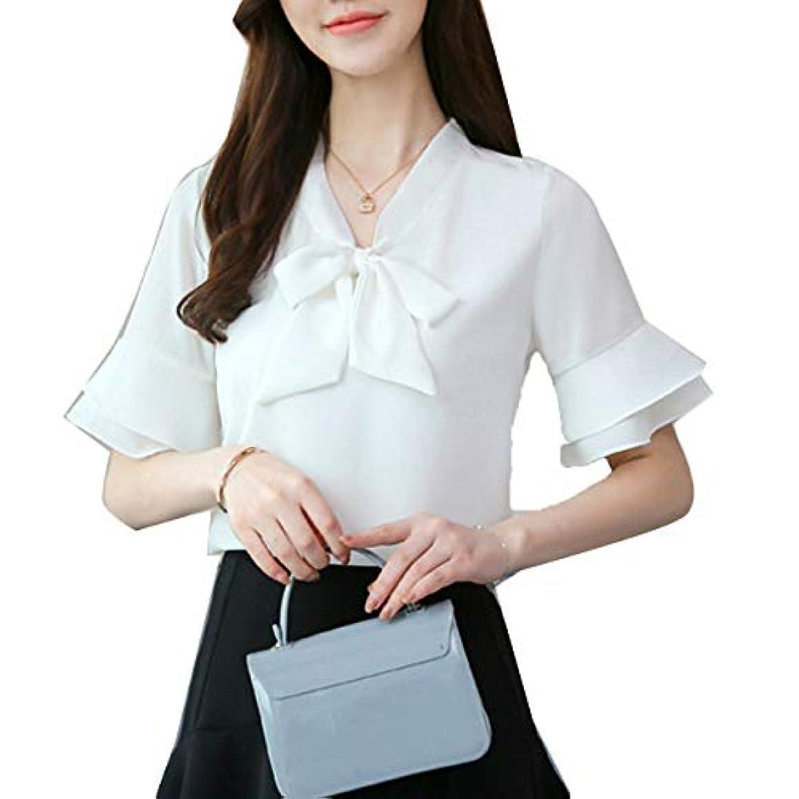 [ココチエ] ブラウス 半袖 とろみ リボン フリル袖 シンプル 無地 かわいい オフィス パステルカラー