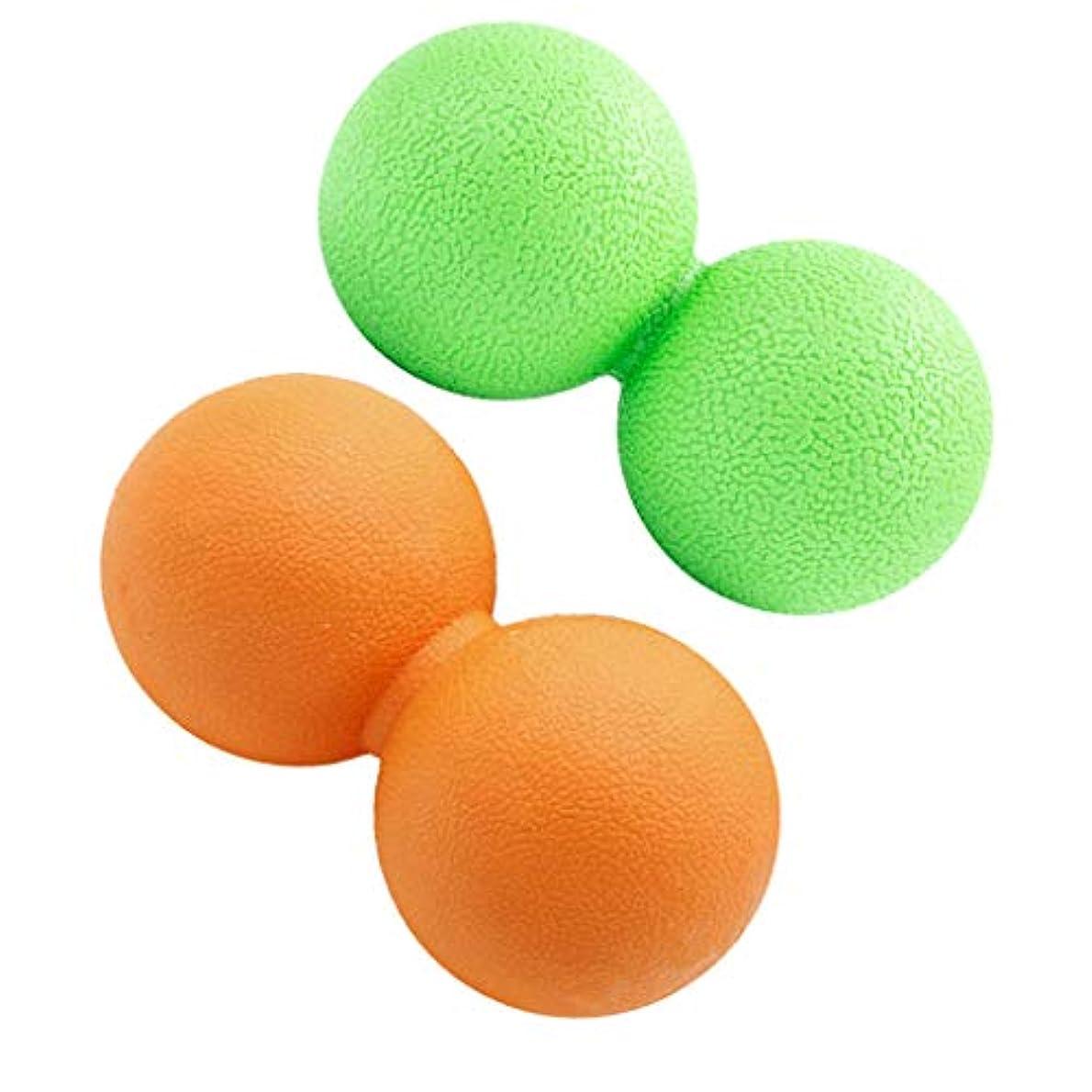 人工的な爵誤って2個 マッサージボール ピーナッツ型 筋膜リリース トリガーポイント リラックス 携带便利