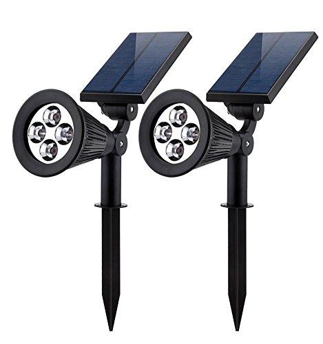 ソーラー LEDライト(第三世代)Siensync(TM) ソーラー アウトドアー スポットライト 省エネ 屋外用 充電式 防水加工 バルブ 車道 庭 芝生 ガーデン ホワイト 2個セット