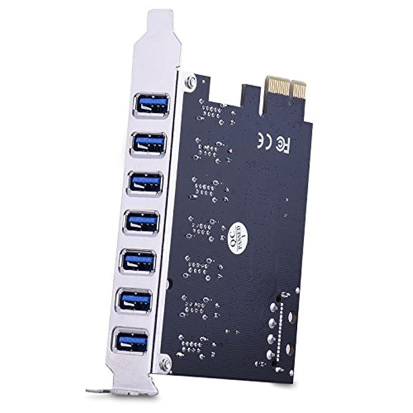 職人自治開いたESHOWEE PCI Express拡張カード 7ポート スーパースピードUSB 3.0 5V 4ピン電源コネクター付き デスクトップパソコン用