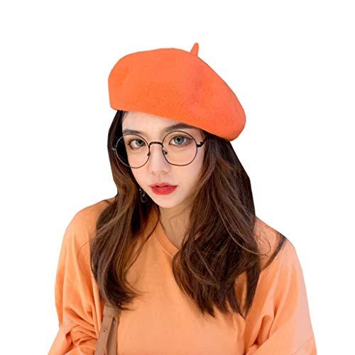 [実りの秋]ベレー帽 レディース フェルト帽 十色 無地 サイズ調整可 小顔効果 ハット オシャレ かわいい かぶりやすい センスがいい 秋冬 オレンジ