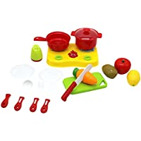 ZerboごっこMiniポータブルキッチンプレイセット, Pretend and Playストーブアプライアンスwith Sliceable Play Food Toy Set for Kids