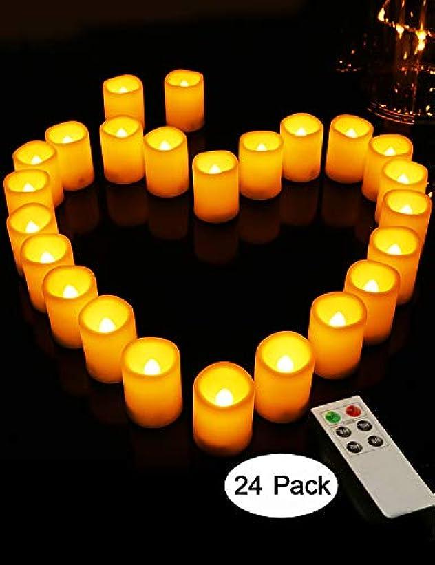ファセット仮称尽きる(24 PCS - 3.8cm D x 5.1cm H - 6-Key Remote with Timer, Ivory Exterior - Warm White Flickering Flame) - HOME MOST Set of 24 LED Votive Candles with Remote (3.8cm D x 5.1cm H, 4/5/6/8 Hour Timer) - Votive Candles Battery Operated Candles with Flickering Flame and Timer - Wedding Decorations For Reception