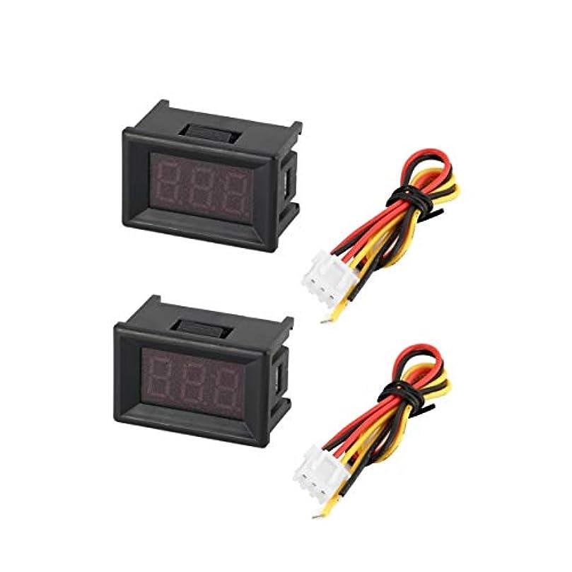 純正実際にキー2PCS 0-100V 0.36in 3線式LEDデジタル電圧計電圧計カーボルトテスター