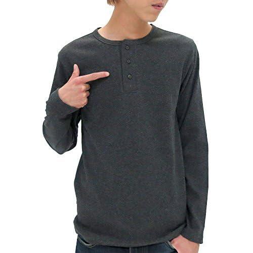 (アヴィレックス) AVIREX Tシャツ メンズ 長袖 ヘンリーネック 無地 リブ 秋 4color M チャコール