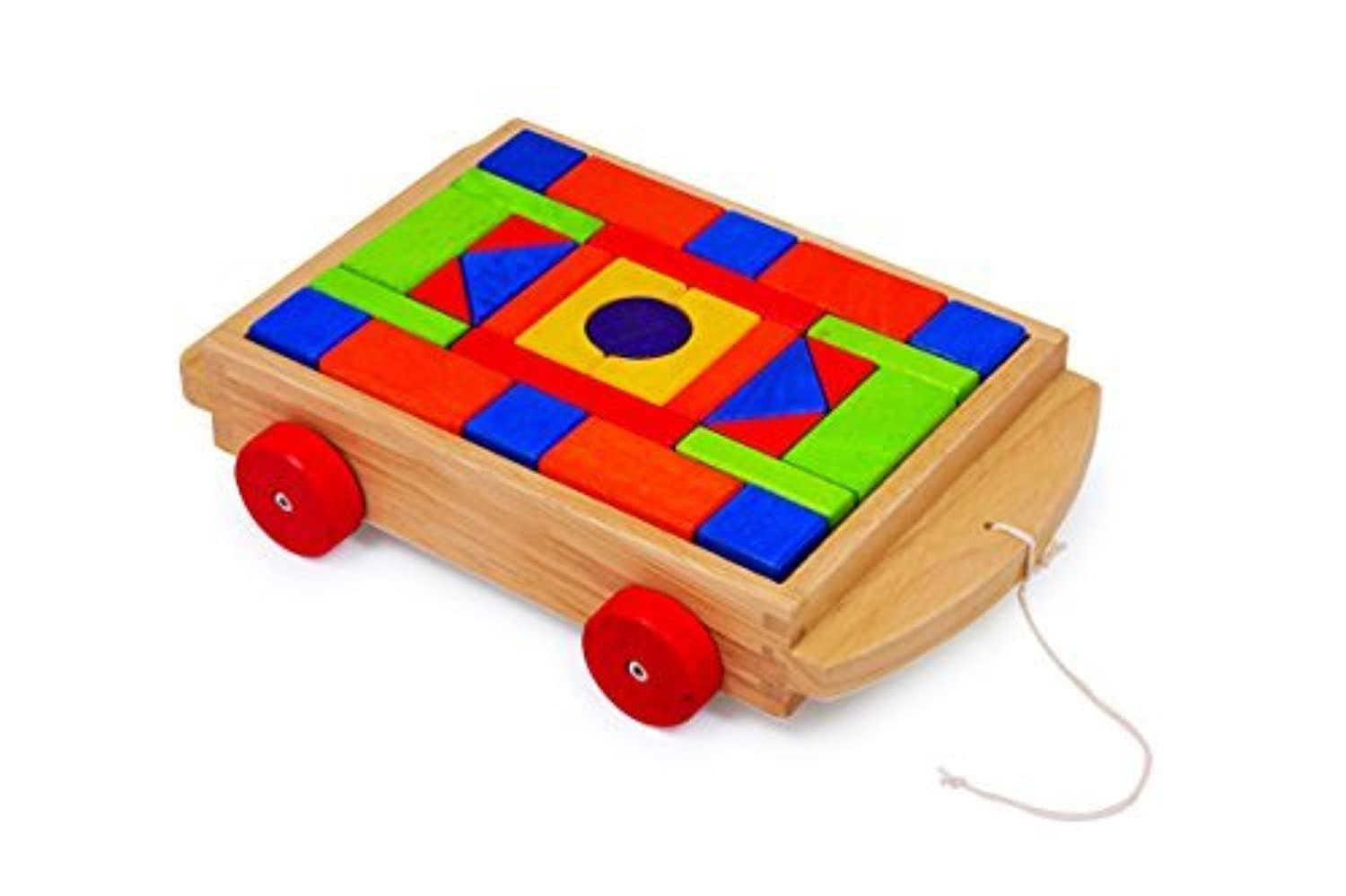 Toddler Pull-Along Trailer with Wooden Blocks [並行輸入品]