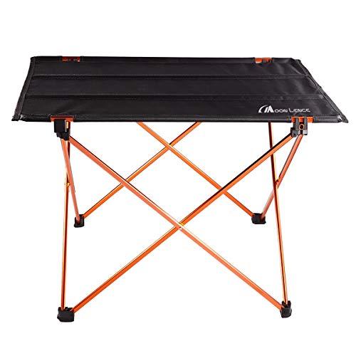 Moon Lence折りたたみテーブル キャンプ アウトドア コンパクト&超軽量 ロールテーブル アルミニウム合金&オックスフォード 収納バッグつき オレンジ/レッド/ゴールド/シルバー四色