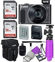 Canon PowerShot sx620HS Wi - Fiデジタルカメラ(ブラック) with 2x SanDisk 16GB SDメモリカード+三脚+ Canonケース+カードリーダー+クリーニングキット