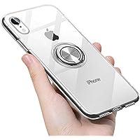 iPhone XR ケース リング 透明 クリア リング付き tpu シリコン スリム 薄型 6.1インチ スマホケース 耐衝撃 米軍MIL規格取得 ストラップホール 黄変防止 一体型 人気 携帯カバー シルバー