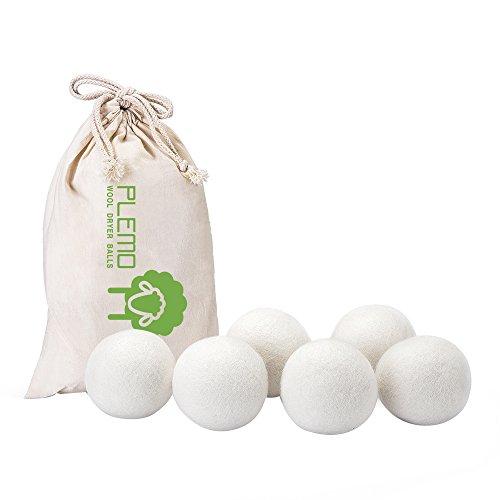 PLEMO ドライヤーボール 乾燥機用ウールボール ニュージーランド製 プレミアムウール100% 洗濯ボール 6個入り 静電気防止 特大サイズ WDB-1