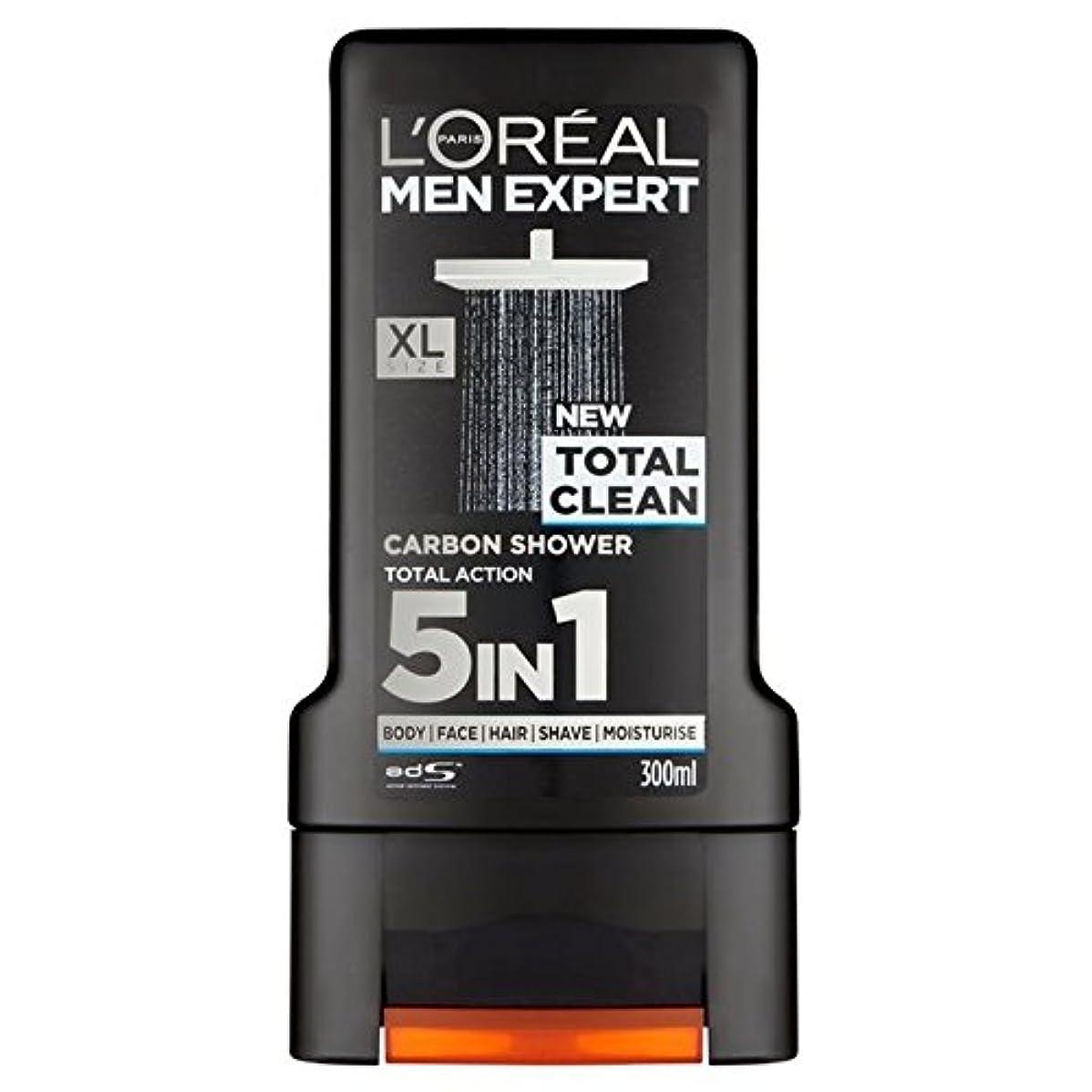 毒問い合わせラリーロレアルパリのメンズ専門トータルクリーンシャワージェル300ミリリットル x4 - L'Oreal Paris Men Expert Total Clean Shower Gel 300ml (Pack of 4) [並行輸入品]