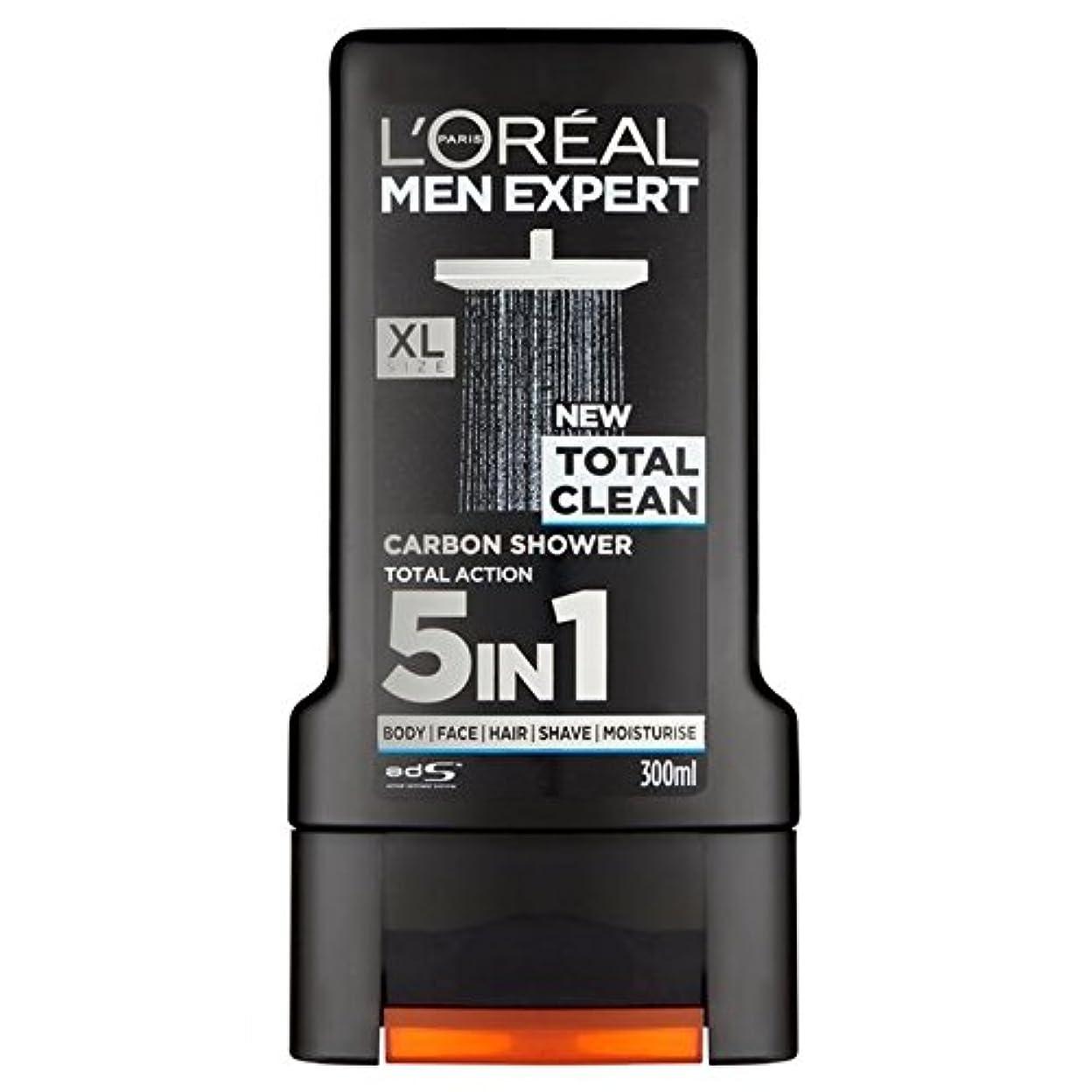 勇敢な増加するリゾートロレアルパリのメンズ専門トータルクリーンシャワージェル300ミリリットル x2 - L'Oreal Paris Men Expert Total Clean Shower Gel 300ml (Pack of 2) [並行輸入品]