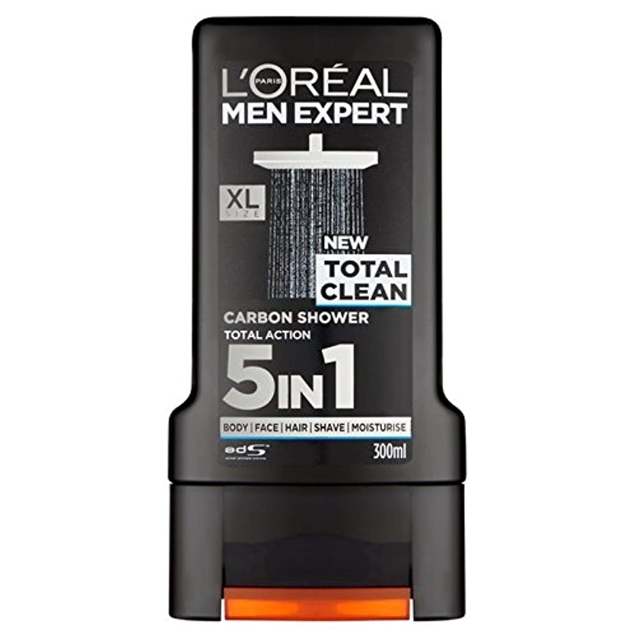 闘争ラブ硫黄ロレアルパリのメンズ専門トータルクリーンシャワージェル300ミリリットル x4 - L'Oreal Paris Men Expert Total Clean Shower Gel 300ml (Pack of 4) [並行輸入品]