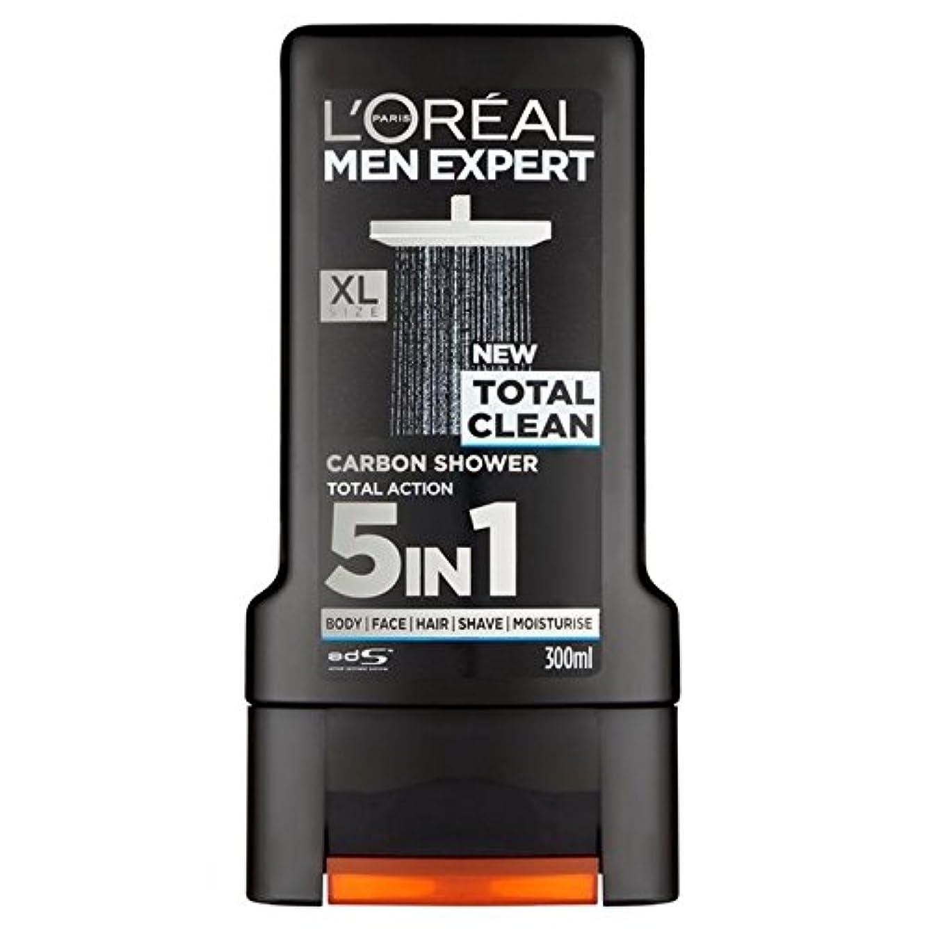 薬剤師報奨金矢印ロレアルパリのメンズ専門トータルクリーンシャワージェル300ミリリットル x4 - L'Oreal Paris Men Expert Total Clean Shower Gel 300ml (Pack of 4) [並行輸入品]