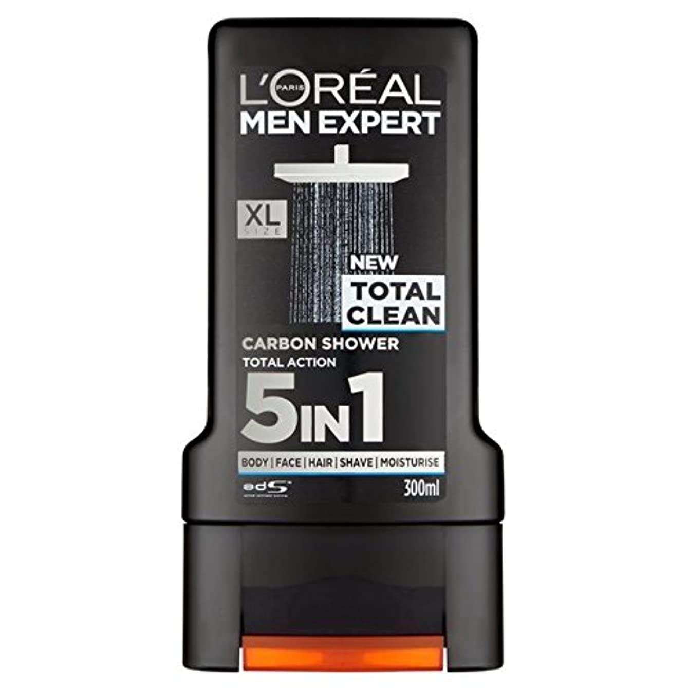 苦行朝グループロレアルパリのメンズ専門トータルクリーンシャワージェル300ミリリットル x2 - L'Oreal Paris Men Expert Total Clean Shower Gel 300ml (Pack of 2) [並行輸入品]
