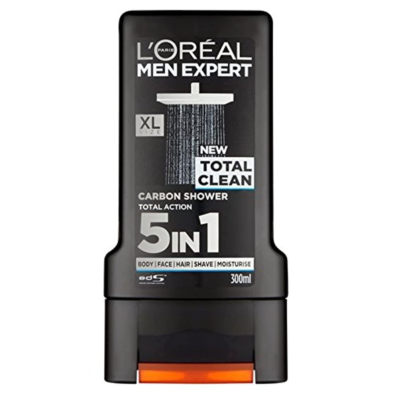 フリース水分耳L'Oreal Paris Men Expert Total Clean Shower Gel 300ml (Pack of 6) - ロレアルパリのメンズ専門トータルクリーンシャワージェル300ミリリットル x6 [並行輸入品]
