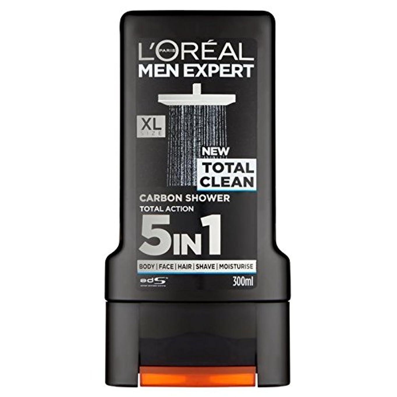お願いします力強い羊飼いロレアルパリのメンズ専門トータルクリーンシャワージェル300ミリリットル x4 - L'Oreal Paris Men Expert Total Clean Shower Gel 300ml (Pack of 4) [並行輸入品]