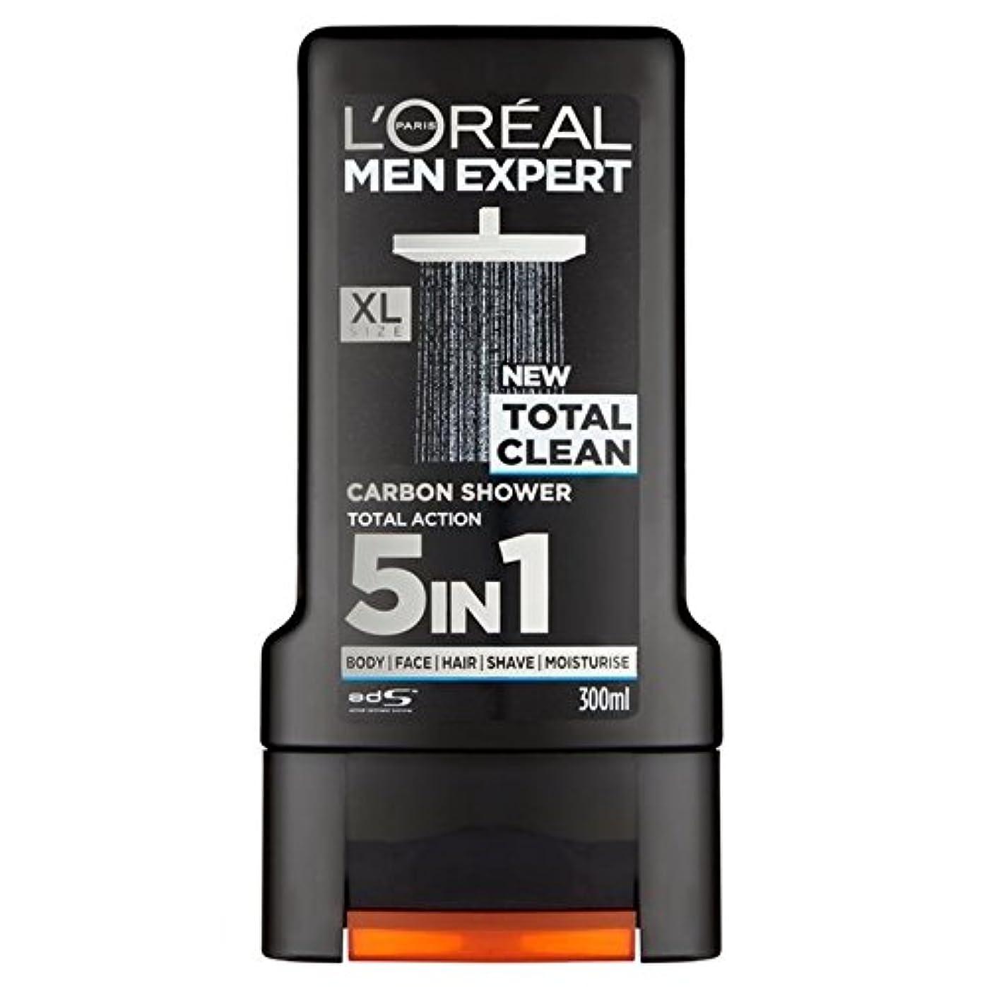 仲間、同僚置き場適用済みロレアルパリのメンズ専門トータルクリーンシャワージェル300ミリリットル x4 - L'Oreal Paris Men Expert Total Clean Shower Gel 300ml (Pack of 4) [並行輸入品]