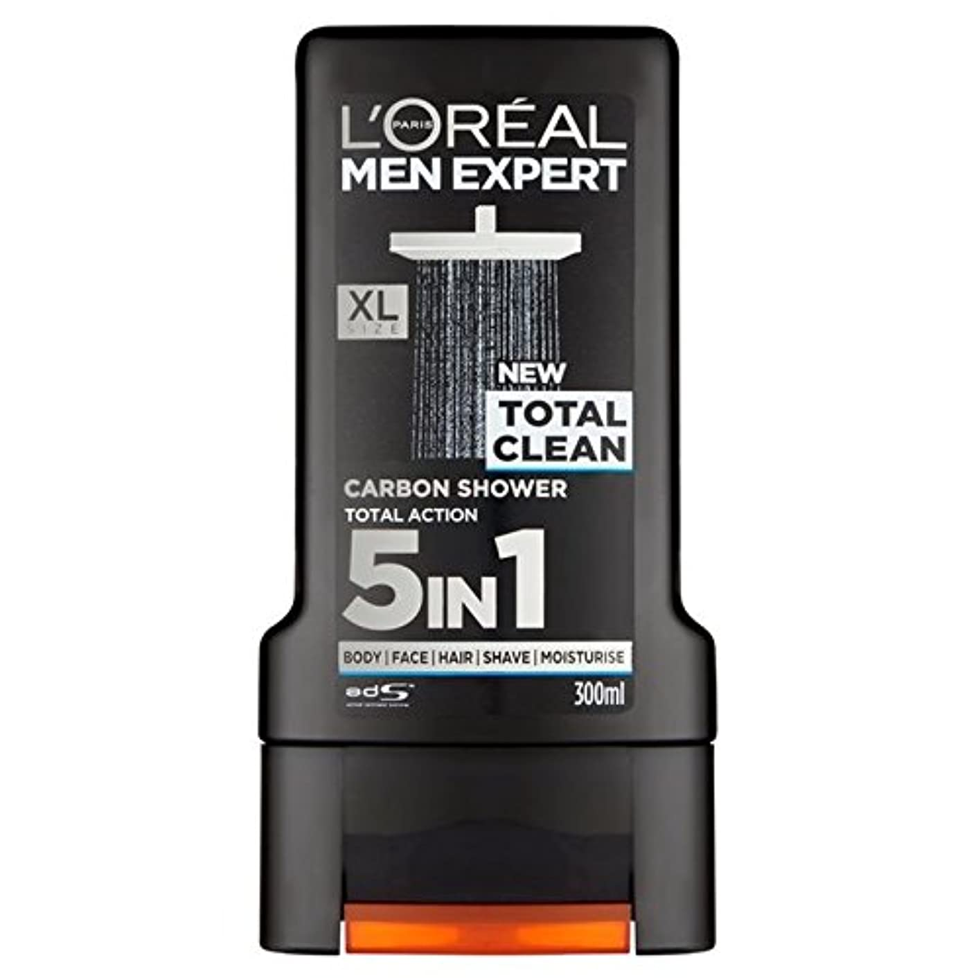 ひねり打たれたトラックの面ではロレアルパリのメンズ専門トータルクリーンシャワージェル300ミリリットル x4 - L'Oreal Paris Men Expert Total Clean Shower Gel 300ml (Pack of 4) [並行輸入品]