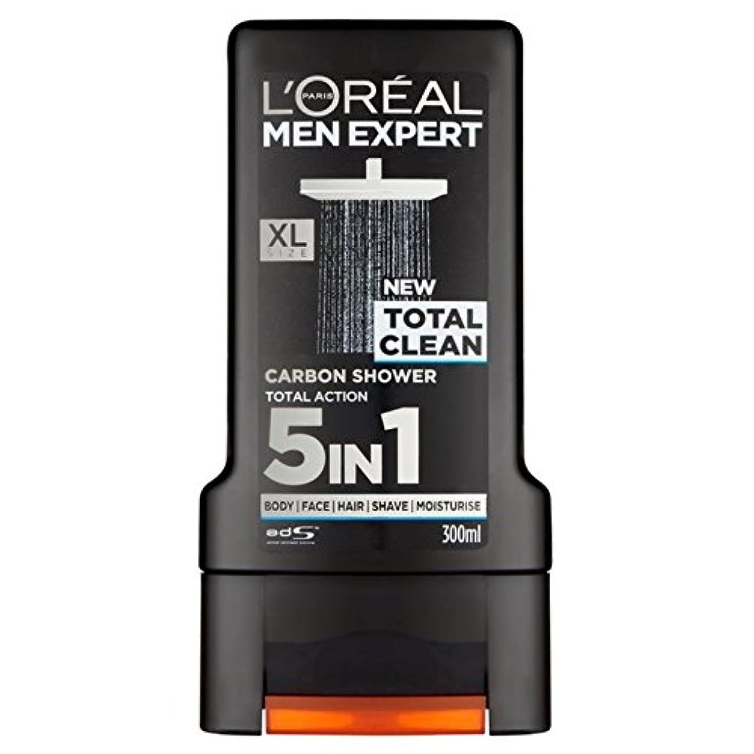 少数収穫一晩ロレアルパリのメンズ専門トータルクリーンシャワージェル300ミリリットル x4 - L'Oreal Paris Men Expert Total Clean Shower Gel 300ml (Pack of 4) [並行輸入品]